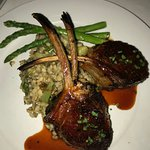 Lamb chops with spring peas and asparagus