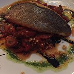 Sea Bass on a bed of ratatouille with pesto