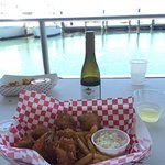 Coconut Shrimp and a half-bottle of wine + unbelievable view = great lunch!