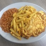 Omelette chips and beans £4.75