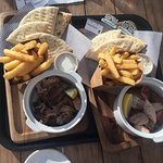 Lamb and Pork Flame-Grilled with Pita Bread and Chips