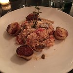 Roasted Diver Scallops Wild Mushroom Risotto,Tomato, Thyme, Parmigano