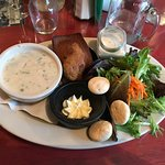 Chowder and garden salad with Johnny Cake