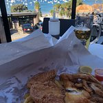 Fish, chips, beer and view!
