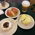 Nutella Ricotta (personal fav), Egg with ham, green egg with tomato and cream cheese