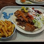 large Lamb Kebab, with fries and a Coke €12