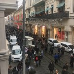 The view of Istiklal street from the cafe 2nd floor
