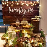 A beautiful picturesque Dessert Table done in collaboration with Manna Pot Catering!