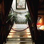 Stairway to upper restaurant