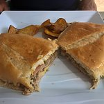 Whole cuban sandwich with thinly sliced sweet potatoes!