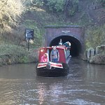Our friend's boat emerging from Dunhampstead Tunnel
