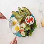 Green Breakfast with Eggs, Mediterranean Salad and Avocado Toast!