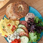 Shepherd Breakfast! Came with Omelet, Salads, Feta, Tuna And A Bagel! Worth it for sure!