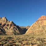 Early morning moon setting over Red Rock, NV
