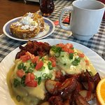 Eggs Benedict w/almond covered french toast side