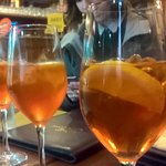 Spritz - A cocktail made with sparkling wine and a bitter liqueur. This one was made with Aperol