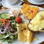 Quiche, salad jacket potato, crisps(already took a mouthful!)