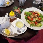salmon salad and fresh mint tea
