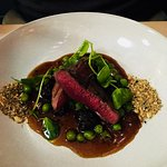 Pigeon with black pudding and garden greens (starter)