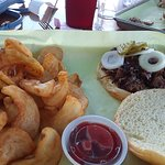 Beef Brisket Sandwich and fries- it was light on meat.