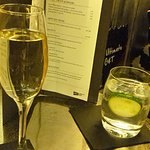Sparkling Bellini and gin and tonic