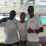 The crew of El Tigre, they were awesome! The catamaran. The beautiful turquoise water under your