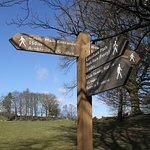 Signpost to Wray Castle and back to boat