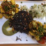 Roasted Indian Cauliflower on quinoa-out of my comfort zone and was EXCELLENT!!