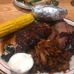 ribs, brisket, pulled pork combo