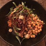 grilled hispi, crushed sweet potato, chickpea salsa