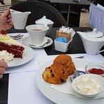 Velvet cake and scones