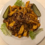 The Seitian ratatouille with chips and fried onions
