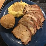 Sliced Pork Loin, Mashed Potatoes w/ Gravy, Roll
