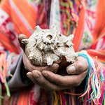 Quechua customs, like this ceremonial conch, are alive and well in the villages where we work.