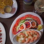 Shrimp al Ajillo with Side Salad and Tostones