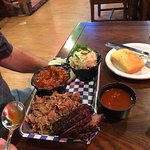 Taco salad & 1/4 lb Tri tip & 1/4 lb pulled chicken plate with bbq beans & potato salad