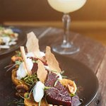 Roasted beetroots w/ goat curd & burnt honey