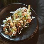 Braised artichokes w/ smoky eggplant puree