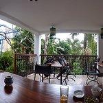 Having breakfast on ground floor terrace facing garden