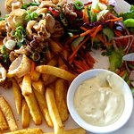 Chilli Squid with chips, salad, and aioli