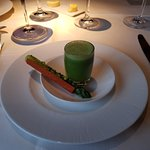 WILD GARLIC SOUP WITH ASPARAGUS WRAPPED IN SWEET POTATO CRISP
