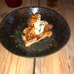 Buttermilk chicken on a belgian waffle