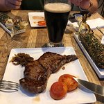 Steak and beer along with Mexican Corn