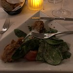 Fried Oysters and spinach salad, get this for sure,