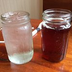 Generous serving size of good sweet tea and water