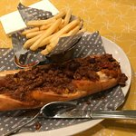 Chilli dog and french fries