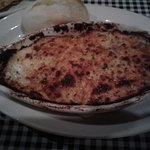 My shrimp/crawfish au gratin. Looks burnt but that is how they cook under the broiler.