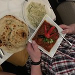 Main course for one with rice and naan bread -nice