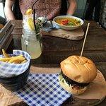 Falafel burger and vegan curry