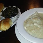 Chicken and dumplings, with collard greens, and yams.